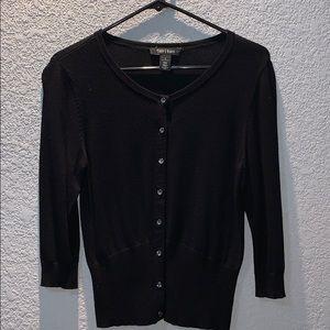 White House/Black Market 3/4 sleeve black cardigan